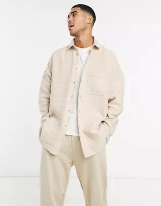 Camisa extragrande en mezcla de lana a cuadros extremos en beis a tono con botones de cierre de presión de ASOS DESIGN