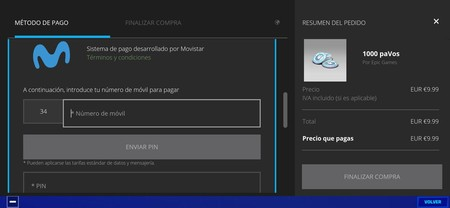 Movistar Fortnite payments