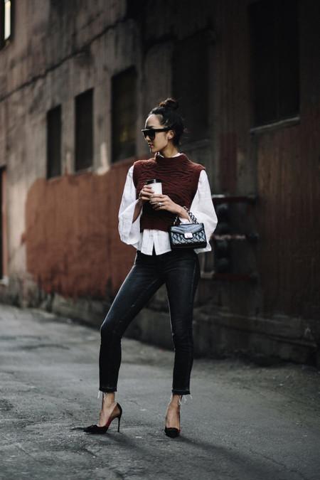 chaleco jersey sin mangas punto street style