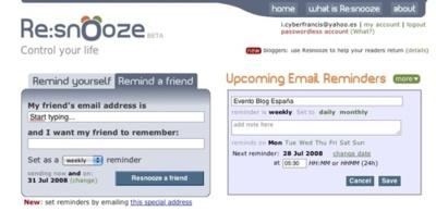 Resnooze, crea recordatorios periódicos por e-mail
