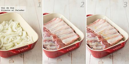 Costillar de cerdo asado con cebolla y patatas paso a paso