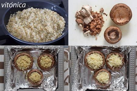 Champiñones portobello rellenos de quinoa: receta saludable vegetarian
