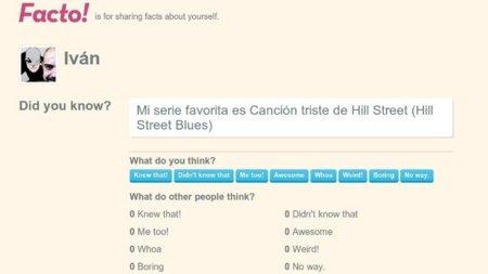 Facto!: comparte hechos concretos sobre ti y que los usuarios los voten