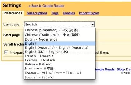 Google Reader en el idioma que quieras