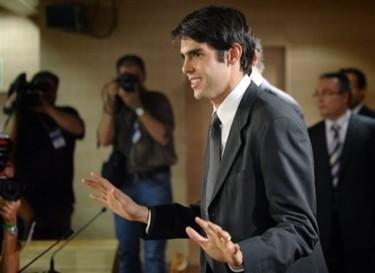 Kaká en la presentación con el Real Madrid