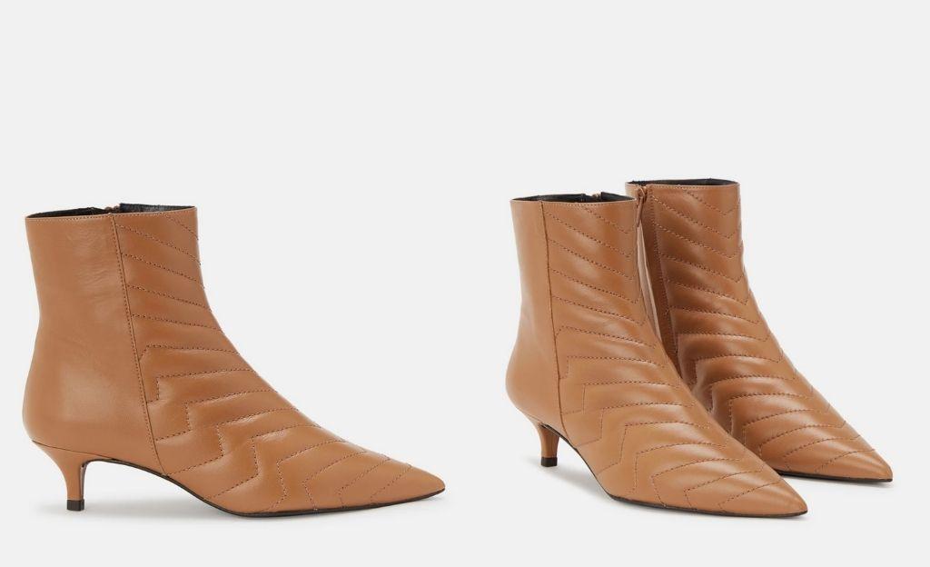 Botines de mujer en color marrón con detalle acolchado