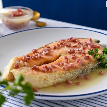 Salmón a la ribereña, receta asturiana fácil y rápida (para solucionar el plato principal en un santiamén)