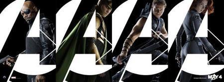 Carteles de cuatro personajes de Los vengadores