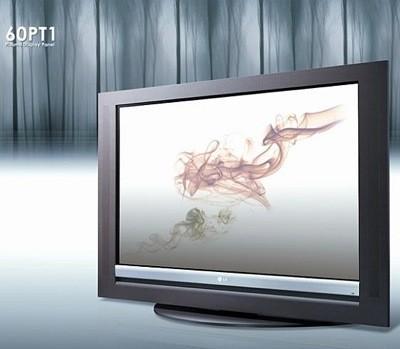 Televisión de plasma de LG con marco de madera