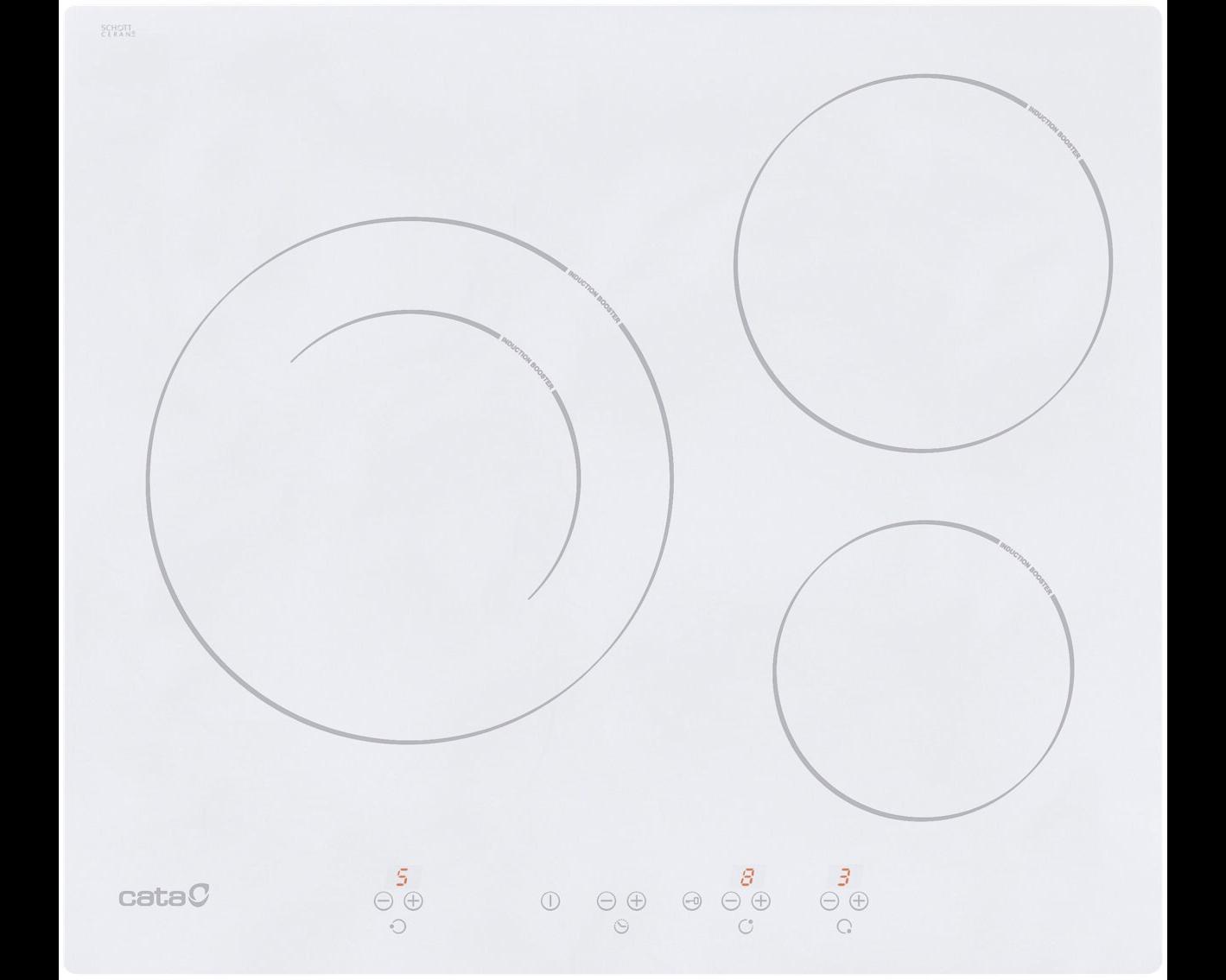 Placa de inducción CATA Ib 6203 de 6.3 x 59 cm con3 zonas de cocción