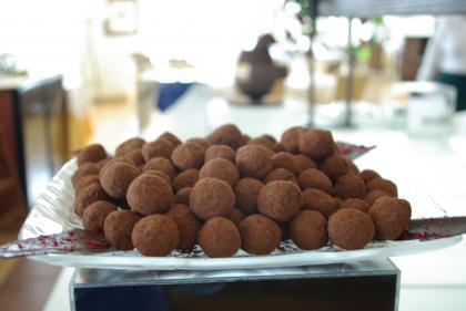 Trufas de chocolate al aroma de naranja sanguínea. Receta
