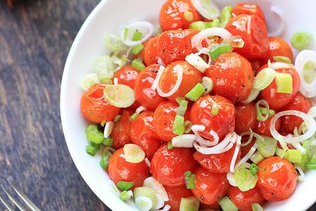 Ensalada de jitomates cherry asados. Menú semanal