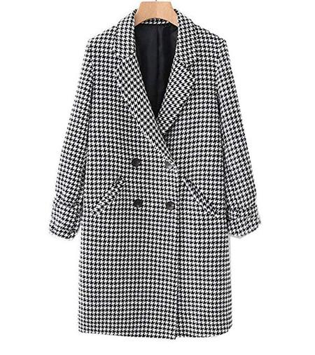 Jaclmy Abrigos Abrigos De Mujer Chaquetas De Mujer Otono Invierno Nuevo Abrigo De Pata De Gallo Con Doble Botonadura Abrigo De Mujer