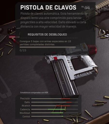 Pistola de clavos en COD