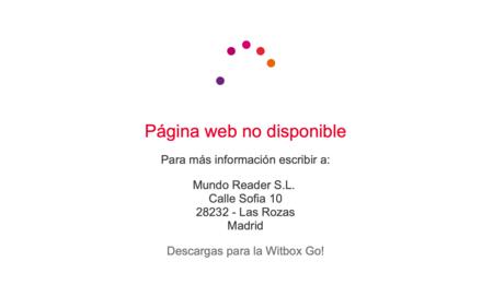 Mensaje que aparece al acceder a la página web de BQ referenciando a una dirección postal para contactar con ellos. Ni mail ni teléfono.