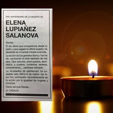 El Día de la Mujer inspira la esquela de amor del viudo de Elenita (el hombre que homenajea a su mujer desde hace 24 años)