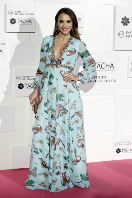 Paula Echevarria Maxi Vestido Flores Evento Tacha Beauty 2
