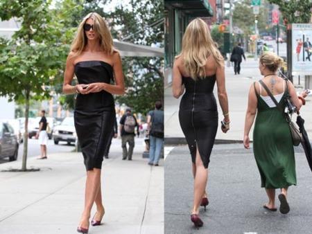 Otra muestra de cómo llevar un vestido de cuero, por Elle Macpherson