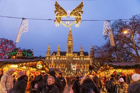 Mercado Tradicional Del Christkindlmarkt Viena