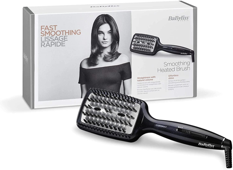 BaByliss Liss Brush HSB101E Cepillo alisador de pelo iónico, de cerámica con 3 tipos de púas, 3 temperaturas 160°C, 180°C, 200°C, alisa todo tipo de cabello, superficie más grande, alisado más rápido