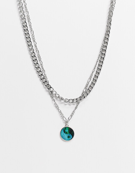 Asos Design Double Layer Neckchain With Ying And Yang Pendant In Silver Tone