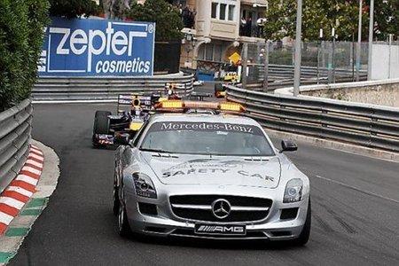 Bernd Mäylander por delante del podio de Mónaco (Webber, Vettel, Kubica) hasta la última curva