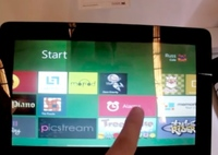 Windows 8 (beta) funcionando en una tablet Viewsonic mostrado en video