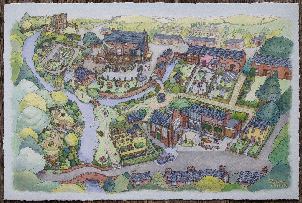 Este cuadro de Untitled Goose Game es un mapa precioso que tiene todos los números para aparecer en mi carta a los Reyes Magos