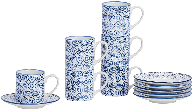 Nicola Spring Juego de café - Taza para expreso con platillo - Estampado Floral Azul - 65 ml - Pack de 6