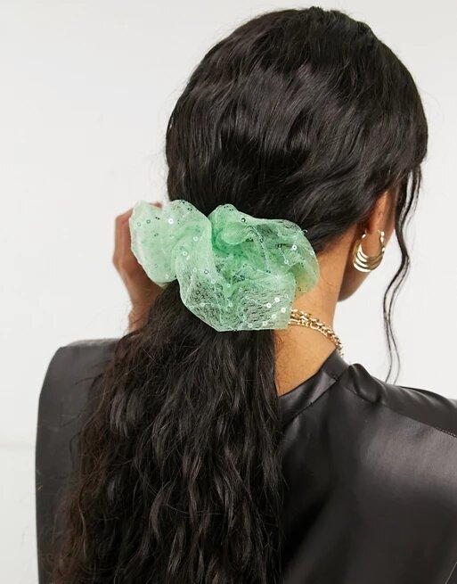 Coletero verde menta de organza con lentejuelas de Pieces