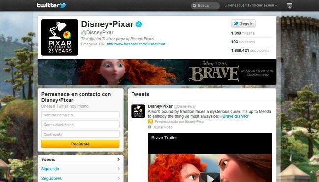 Perfil de Pixar en Twitter