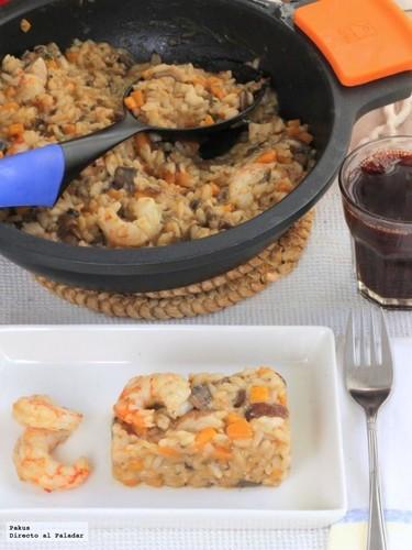 Receta de risotto de boletus, calabaza y gambones