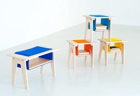 Divertidas mesas con piezas de fieltro para almacenaje