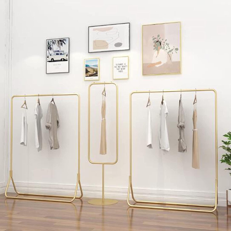Estante de exhibición de ropa, estante de riel industrial, riel de ropa de alta resistencia, carga de 95-100 kg, ahorra un gran espacio, se usa en vestidores y tiendas de moda/dorado / 150cm