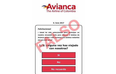 No, Avianca no está regalando tiquetes a través de sus redes sociales