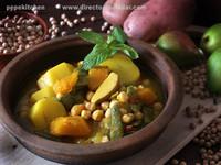 Olla gitana con peras y calabaza. Receta tradicional