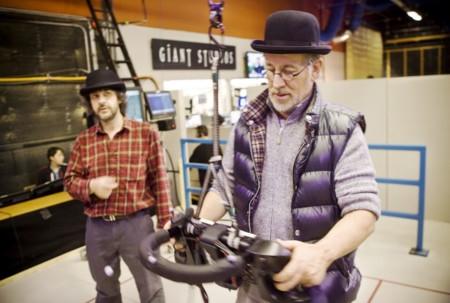 Peter Jackson y Steven Spielberg rodando Tintín