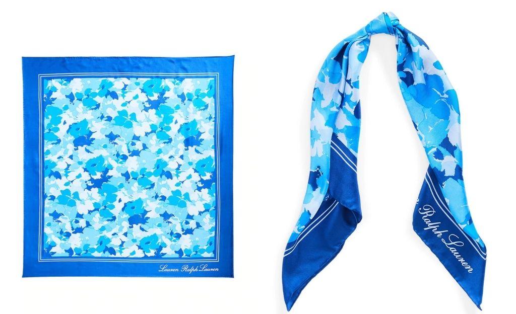 Pañuelo de mujer de seda azul marino