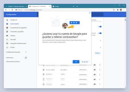Chrome permitirá guardar las contraseñas en nuestra cuenta de Google, con o sin sincronización activa