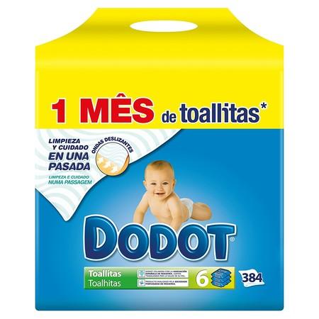 El pack de 6 unidades con 64 toallitas Dodot está rebajado a 5,83 euros en Amazon