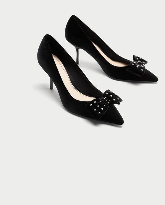 zapatos zara negros total black tacon