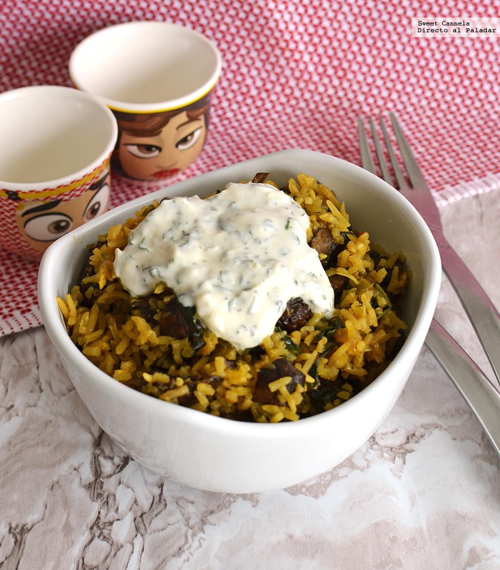Biryani de Champiñones. Receta vegetariana en olla de cocción lenta