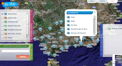 En Vivo, recursos turísticos de Andalucía y Google Maps