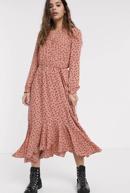 Vestido Camisero Midi Rosa Con Lunares De Oasis