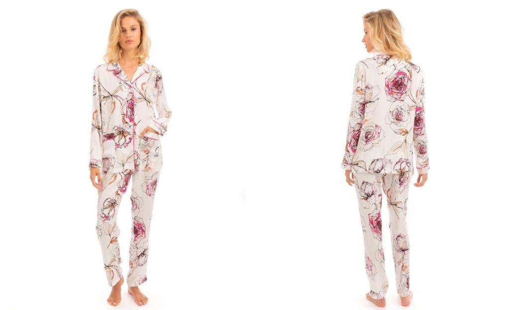 Pijama de mujer largo blanco con estampado de flores