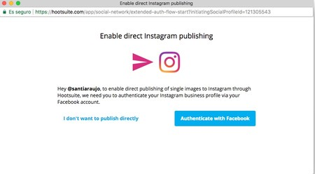 Window Y Enable Direct Instagram Publishing Y Hootsuite