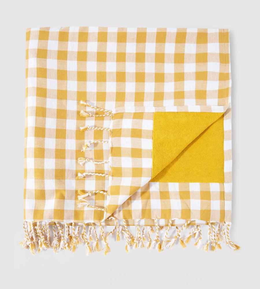 Kikoy de cuadros Southern Cotton en tono mostaza con bolsa