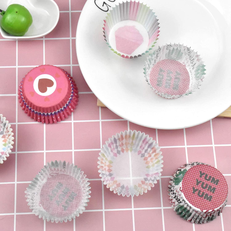 Chstarina 400 Pcs Papel para Magdalenas, Papel para Cupcakes, Papel para Muffin Arcoíris, Moldes para Hornear, Moldes para Pastelería para Hornear Pastel Tarta Cumpleaños Bodas Fiesta