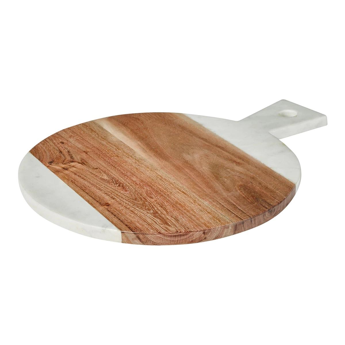 Tabla de cortar de mármol y acacia
