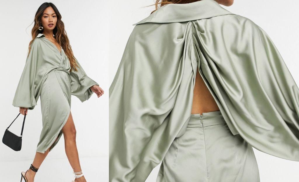 Vestido camisero color oliva con mangas de blusón y espalda abierta de satén de ASOS DESIGN